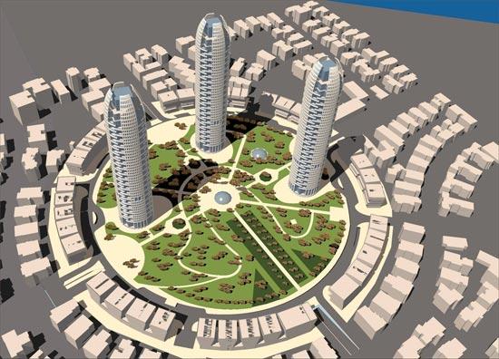 התכנית הנוכחית - מגדלים בתוך הכיכר