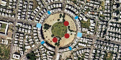 מיקומי המגרשים המוצעים לבנייה בכחול - מיקמוי המגדלים לפני התכנית המקודמת - באדום