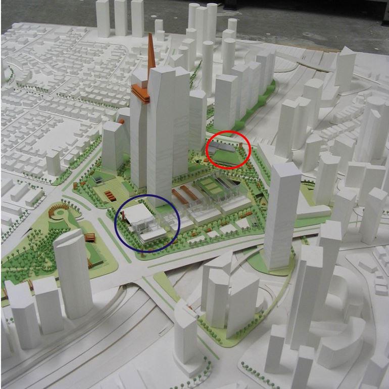 """השתלבות שתי האולמות של רכבת מרכז בתכנית הכוללת לאיזור """"מתחם 2000"""" הקפתי בכחול גם את אולם הנוסעים וגם את התחנה המרכזית לאוטובוסים העתידים שתוקם שם."""