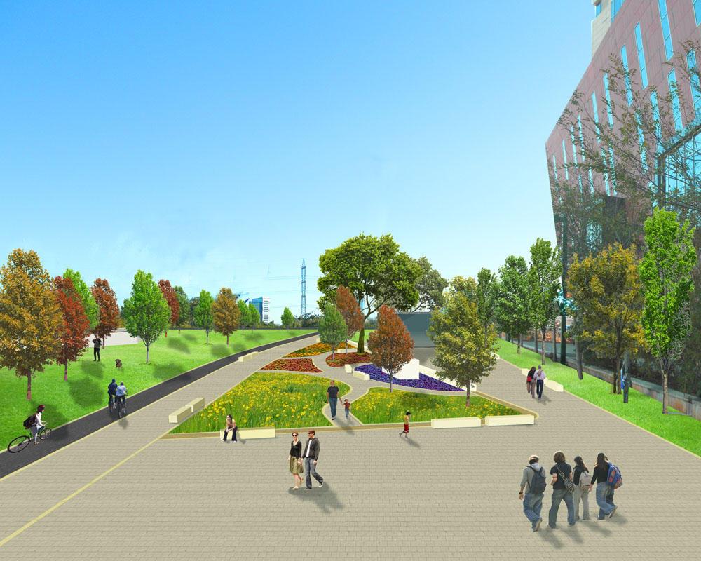 מבט מכיוון מעגל התנועה לכיוון הגן החדש (מבט לכיוון דרום)