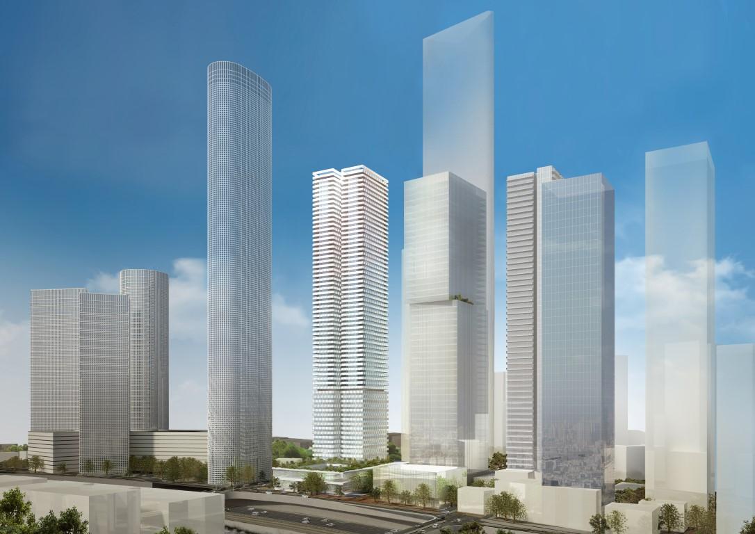 התכנית המעודכת (המגדל במרכז, מימין למידטאון)